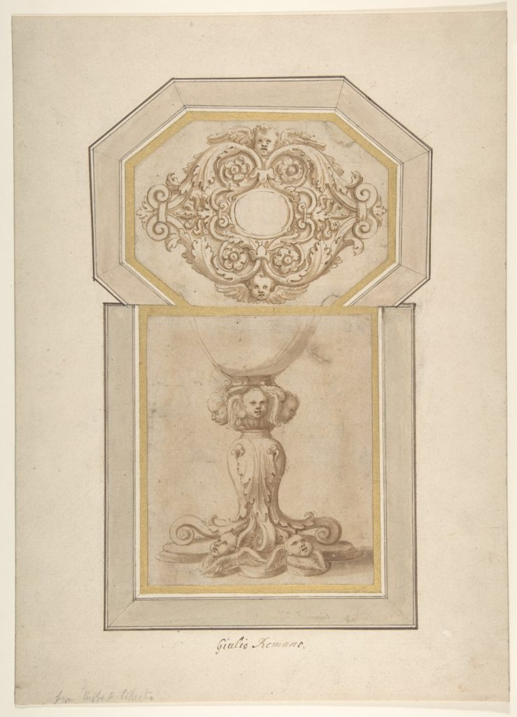 Design for a Sculptural Frame Decorated with Angel Heads, Volutes and Leaves (for a Ceiling ?); Design for a Base Decorated with Angel Heads, Volutes and Leaves