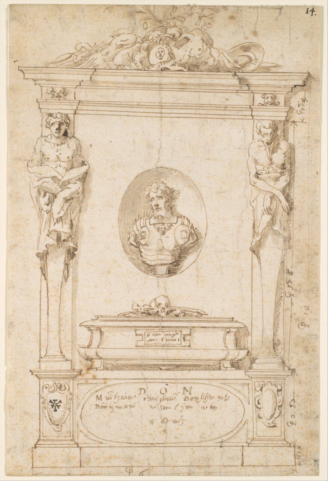 Design for a Tomb with Herms and a Niche with a Bust Portrait