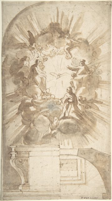 Design for an Altar with a Celestial Subject Above