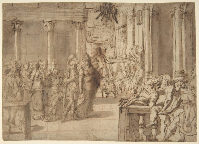 Dido and Aeneas (recto); Three Figures Traced in Reverse from Recto and a Study of a Seated Man (verso)