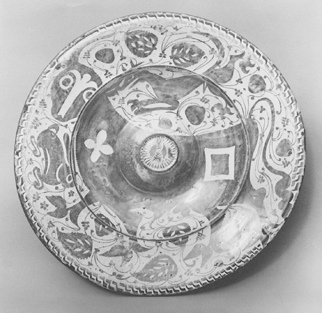 Dish with a bull, a greyhound, and a hare