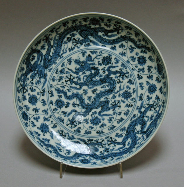 Dish with Dragons and Lotuses