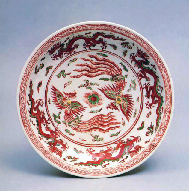 Dish with Phoenixes and Dragons