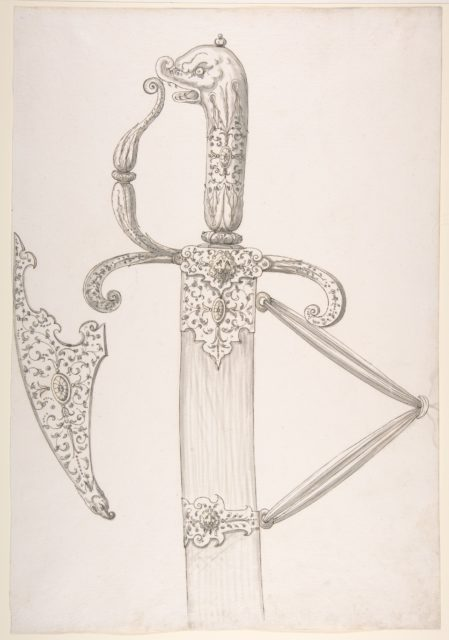 Drawing of Design for Sword Hilt and Tip of Scabbard (Dolphin-Head Grip)