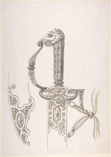 Drawing of Design for Sword Hilt and Tip of Scabbard (Lion-Head Grip)