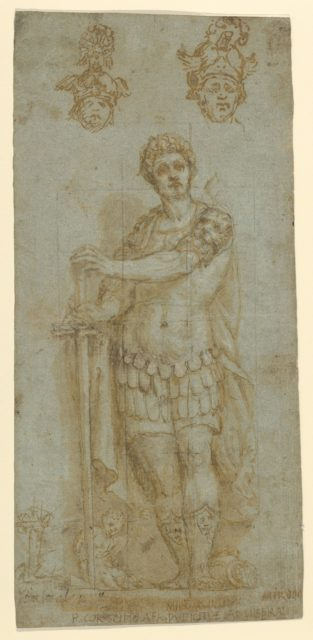 Figure in Roman Dress (Publius Cornelius Scipio Africanus) and Study of Two Helmets (recto); Sketches and Latin Inscription (verso)