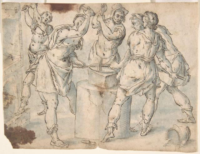 Five Men Around an Anvil, verso: Figures in a Wood (The Preaching of Saint John the Baptist?)