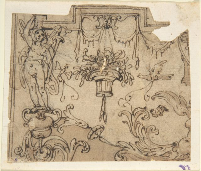 Fragment of a Scheme with Grotesque Decorations; Fragment of an Ornament Design after the antique (verso)