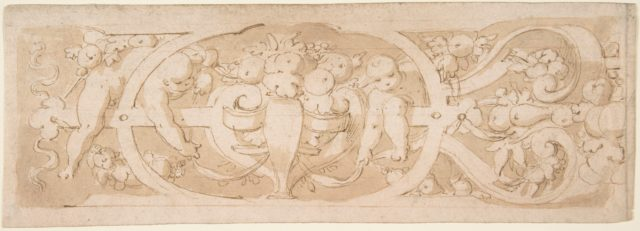 Frieze with Fruit, Foliage and Putti Climbing through Strapwork
