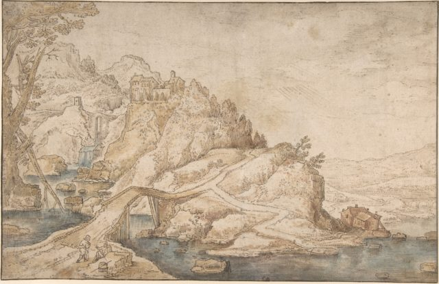 Hilly Landscape with River, Bridge and Houses with Two Figures at Left