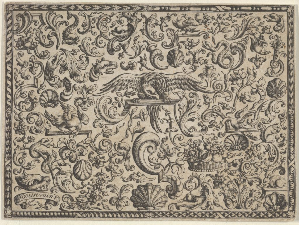 Horizontal Panel with a Bird Perched at Center