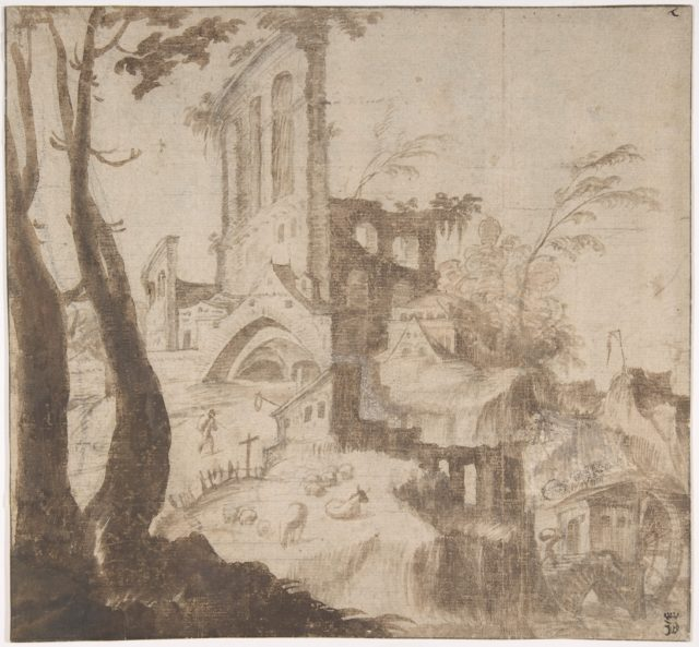 Imaginary Hilly Landscape with Ruins
