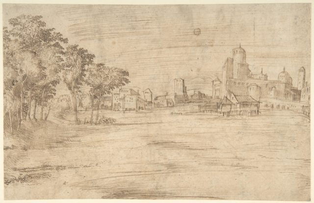 Landscape with Buildings (recto); Studies for a Flagellation (verso)