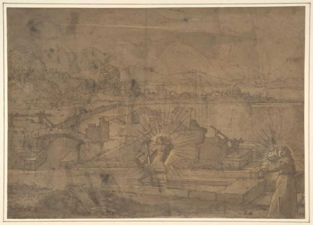 Landscape with Saint Christopher and Male Monastic Saint (recto); Victory Crowning a Warrior, and Two Other Figures (verso).