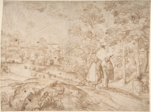 Landscape with Two Pilgrims Walking Along a Road