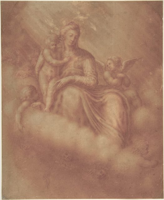 Madonna and Child Among the Clouds