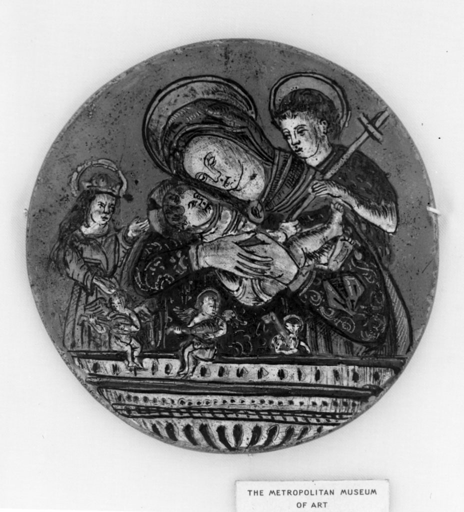 Madonna and Child between Saint John and a sainted abbess (probably Saint Catherine of Alexandria)
