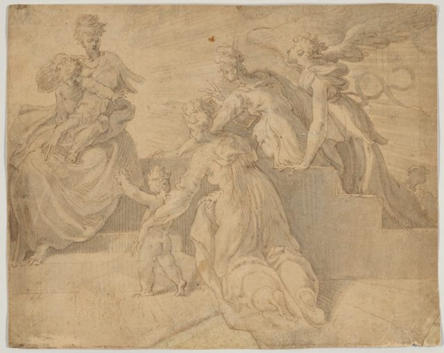 Madonna and Child with the Infant Saint John the Baptist, Three Women, and an Angel