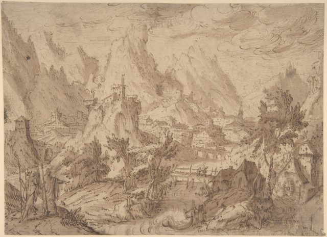 Mountainous Landscape with Town