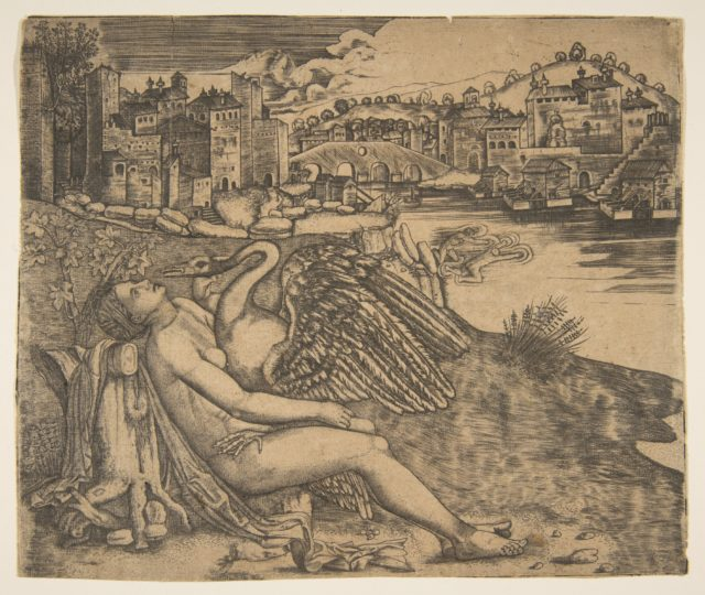 Naked woman (Leda) and swan (Zeus) embrace on a river bank; two figures jump into the water at middle ground; a town and bridge in the background.