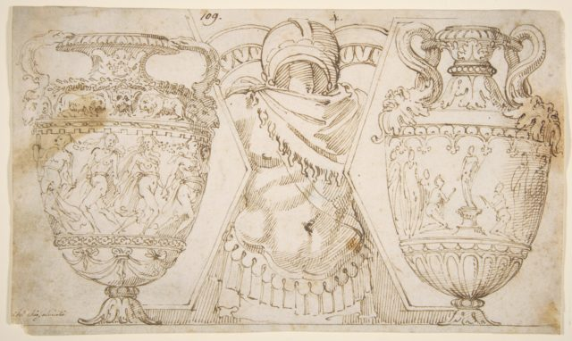 Ornamental Design with Amphore and Antique Style Armor (recto); Sketch with Two Figures (verso)