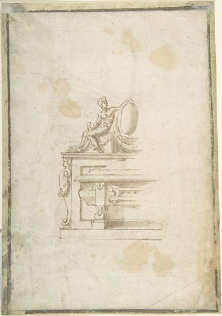 Partial Design for a Tomb with a Seated Male Figure Holding a Shield (recto); Partial Design for a Tomb with a Seated Male Figure, Putti and an Obelisk (verso)