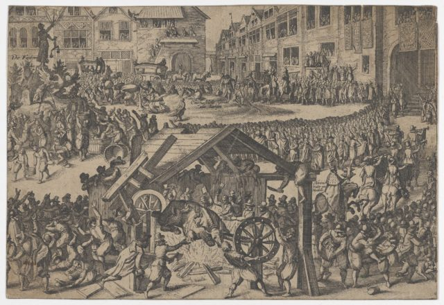 People celebrating at the coronation of Ferdinand II in Frankfurt