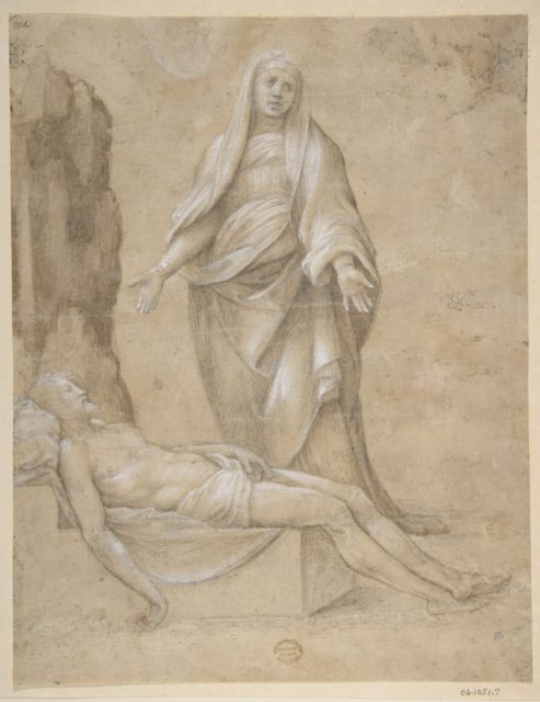 Pieta (recto); Madonna and two Cherubs in pen and brown ink; copy of a drawing in the Louvre which is attributed to Raphael (verso)