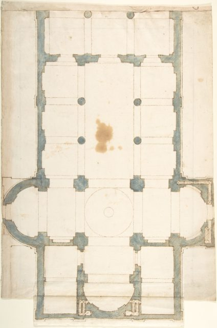 Plan for a Church with a Nave (recto); Framing Outlines (verso)