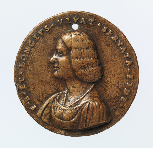 Portrait medal of an Unknown Lady (obverse); A Kneeling Man with a Basket of Fruit, Cupid, and the Caduceus of Mercury (reverse)
