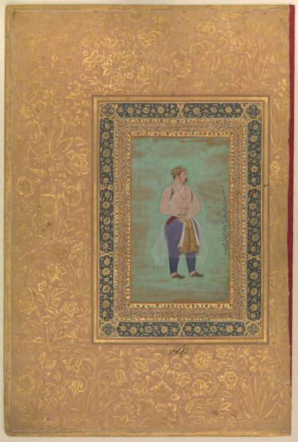 "recto: ""Portrait of Prince Danyal"", Folio from the Shah Jahan Album"