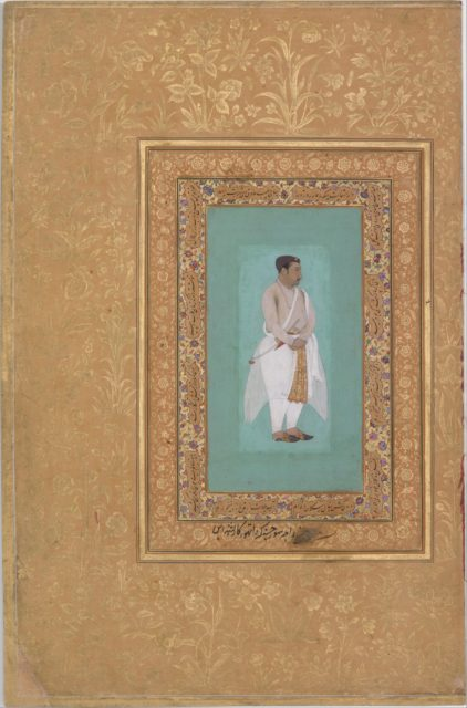 "recto: ""Portrait of Raja Suraj Singh Rathor"", verso: Page of Calligraphy. Folio from the Shah Jahan Album"