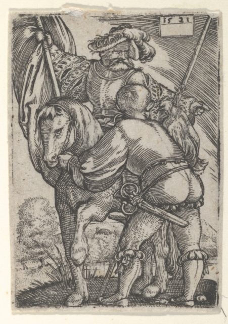 Riding Standard Bearer and a Foot Soldier