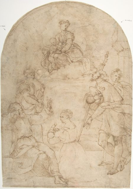 Saint Roch Recommending a Woman with a Sick Child to the Virgin (recto); Figure of a Man Holding a Book; Nude Figure of a Man (verso)