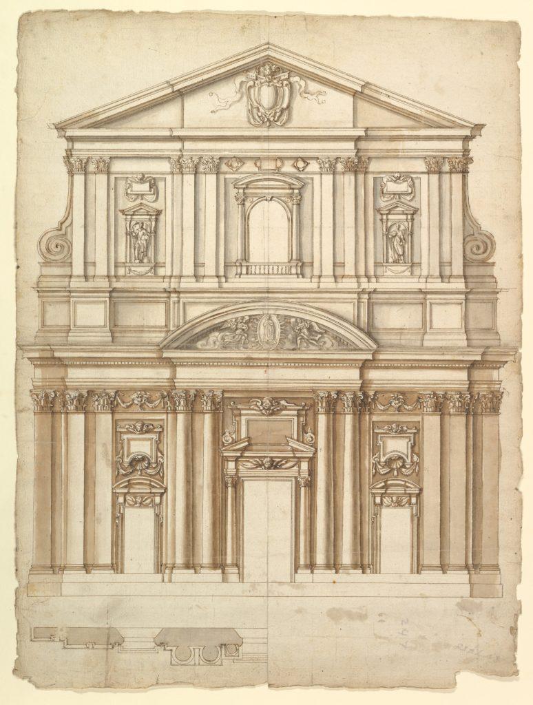 Santa Maria in Vallicella, elevation; plan (recto) blank (verso)