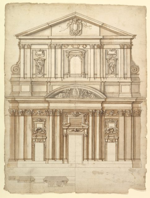 Santa Maria in Vallicella, elevation; plan (recto) blank (verso)