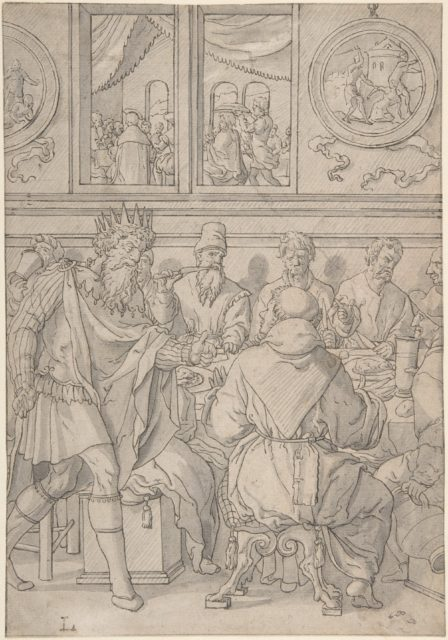 Scene from the parable of the marriage feast (Matthew 22:11-14; The king denouncing the man who was not wearing a wedding robe)