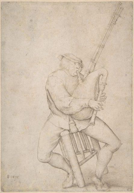 Seated Man, Precariously Balanced, Playing Bagpipes