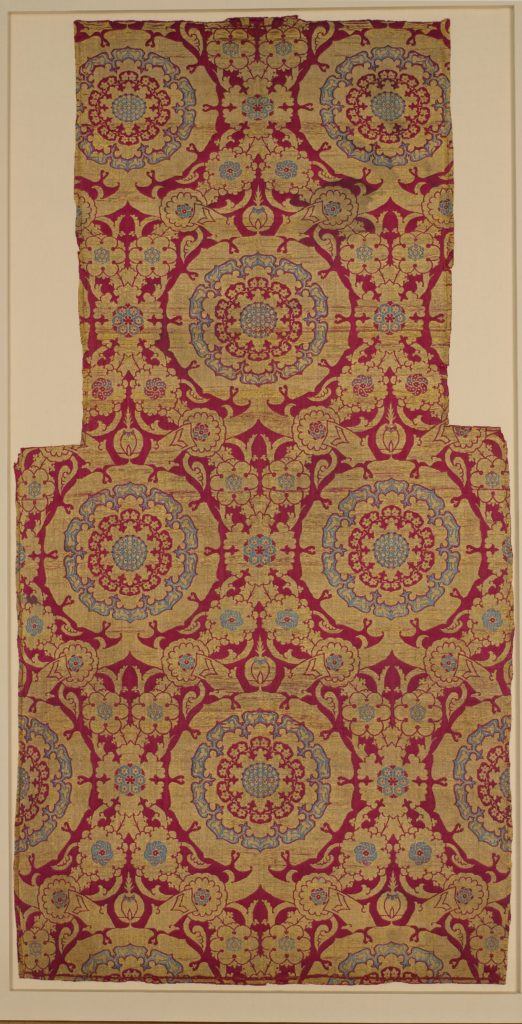 Silk Fragment with Circular Rosace-like Floriate Medallions