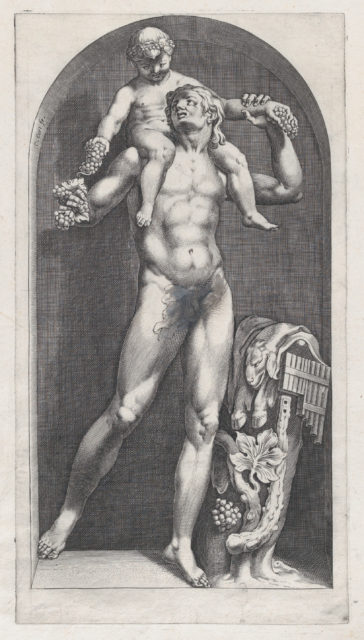 Speculum Romanae Magnificentiae: Bacchus on the Shoulders of a Satyr