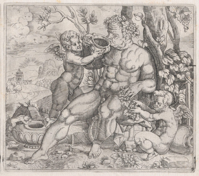 Speculum Romanae Magnificentiae: Bacchus, Seated, Drinking from a Vase Presented by a Putto