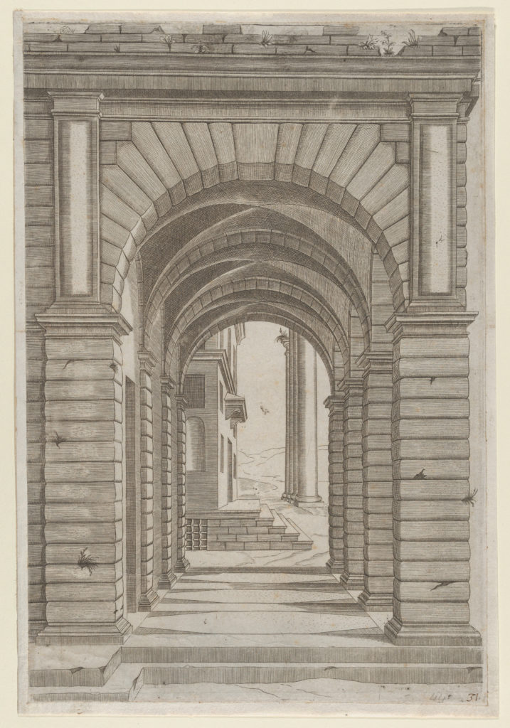 Speculum Romanae Magnificentiae: Front of a Building seen sideways through an arcade of four arches on its left front.