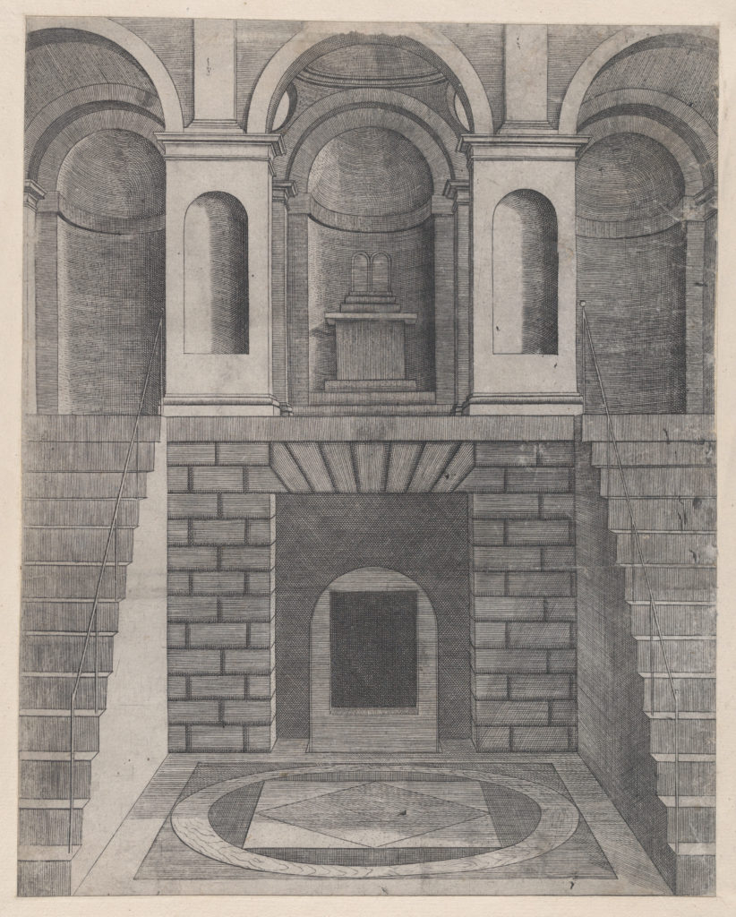 Speculum Romanae Magnificentiae: Interior, showing an underground chamber reached by two flights of stairs, one on each side; niches on the landing above.