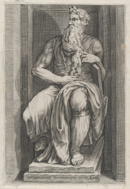 Speculum Romanae Magnificentiae: Moses after the sculpture by Michelangelo