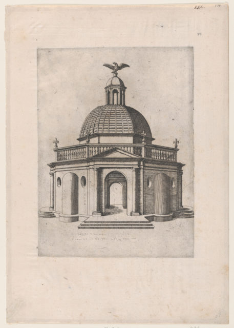 Speculum Romanae Magnificentiae: Octagonal Temple with a dome, surmounted by a domed turret, crowned with an eagle