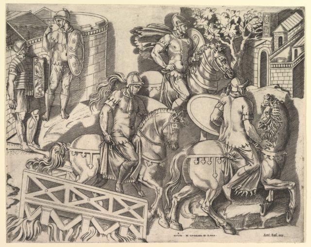 Speculum Romanae Magnificentiae: Roman Horsemen Crossing a Bridge (from Trajan's Column)