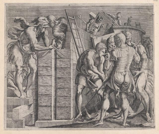 Speculum Romanae Magnificentiae: Romulus and Remus Building the Walls of Rome