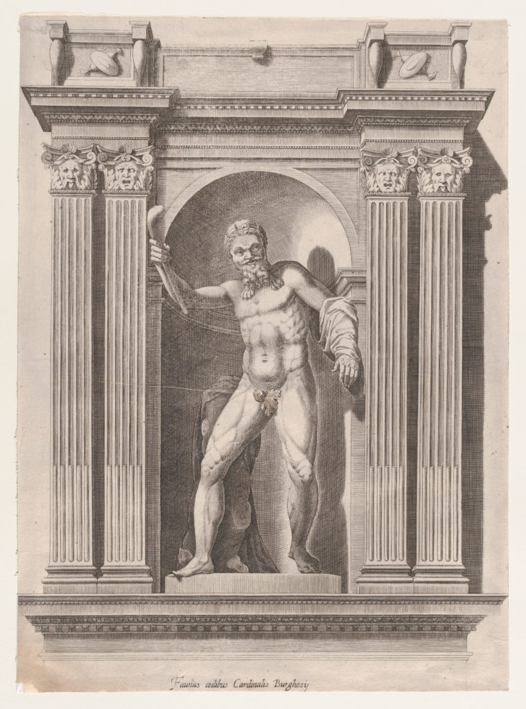 Speculum Romanae Magnificentiae: Sculpture of a faun standing in a niche after a statue in Scipione Borghese's villa