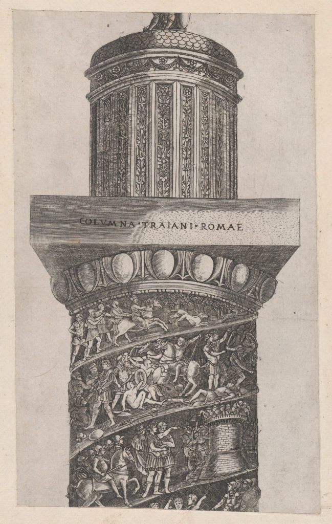 Speculum Romanae Magnificentiae: The upper portion of Trajan's Column, showing arabesque work on the crowning turret