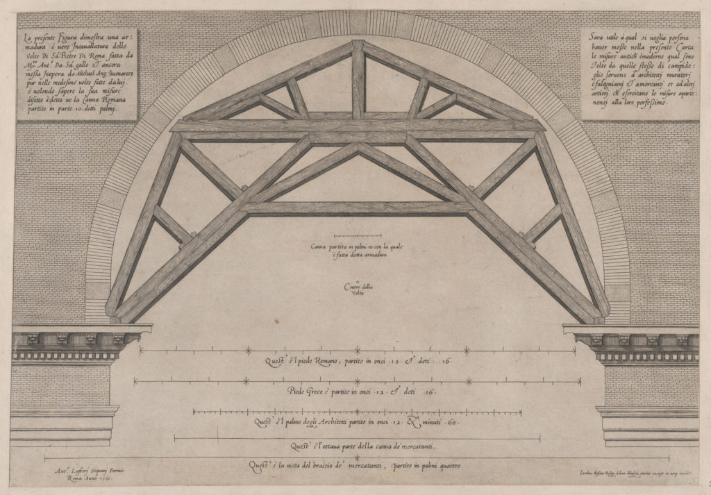 Speculum Romanae Magnificentiae: Wooden Framework to Support Arches in a Building